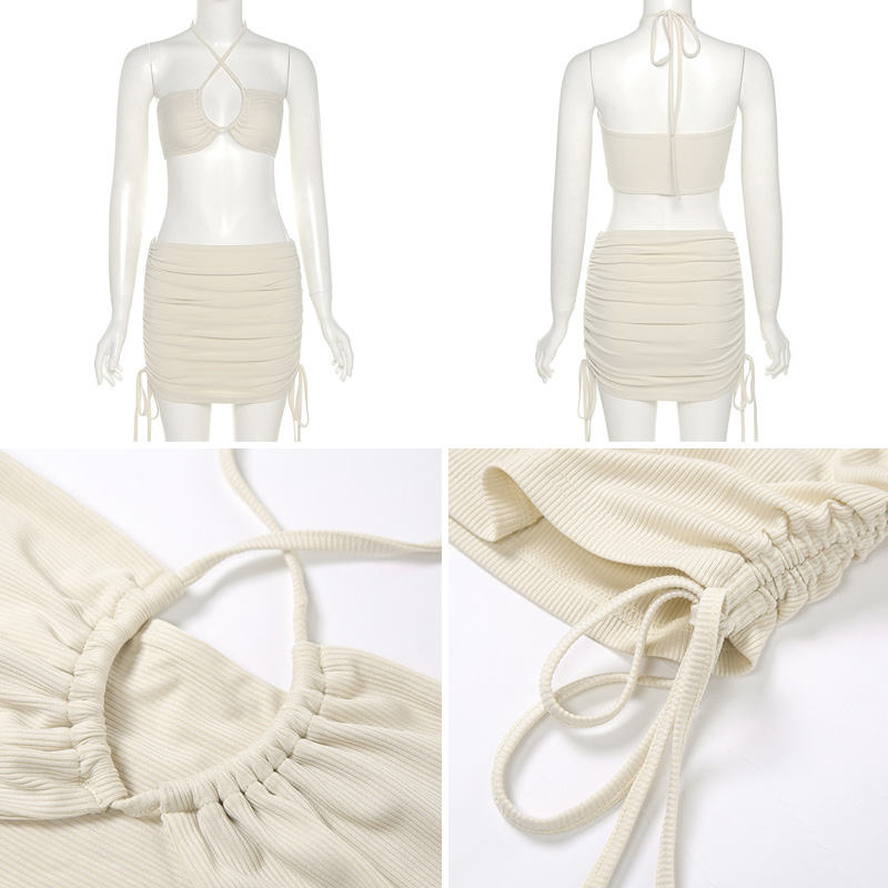Two Piece Set Women Skirt And Top 2021 Sexy Bodycon Dress Sets Summer Women Outfit Festival Clothing Mini Skirt And Crop Top Set 6