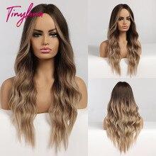 Küçük LANA uzun Ombre dalgalı peruk kahverengi sarışın orta kısmı Cosplay sentetik peruk kadınlar için patlama ile uzun saç peruk sahte saç