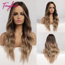 小さなlanaロングオンブル波状かつらブラウンブロンド中部コスプレ合成かつら女性のための前髪ロング髪かつら偽の髪