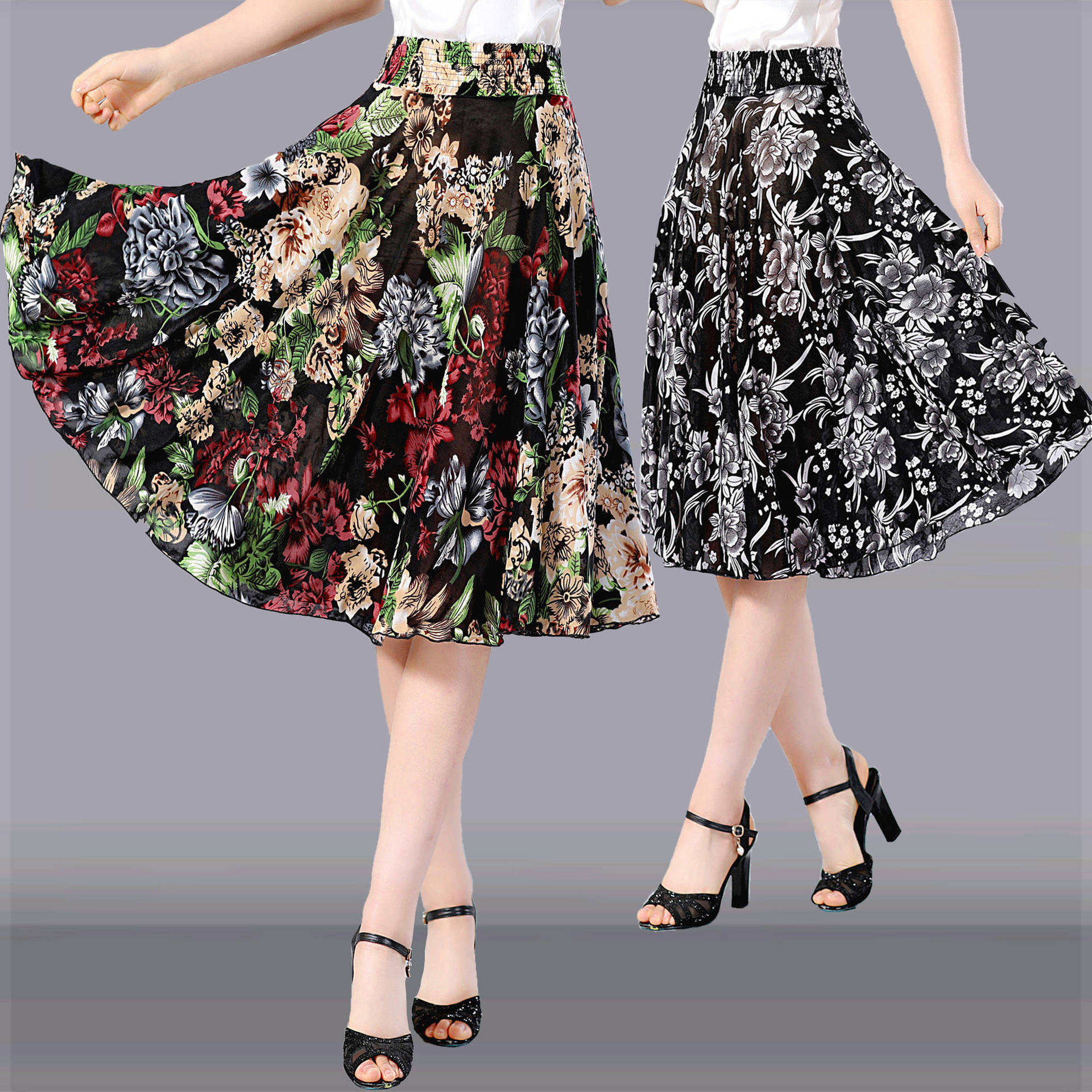 Middle-aged WOMEN'S Apparels Summer Short Skirt Middle-aged Women Dress Elastic High Waist Square Dance Clothing Skirt Large Siz