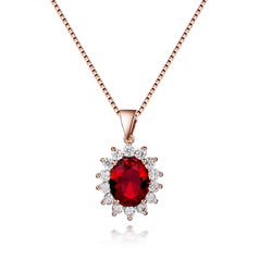 Fashion Women Necklace 925 Silver Jewelry Oval Shape Ruby Zircon Gemstones Pendant for Wedding Engagement Party Gift Accessories