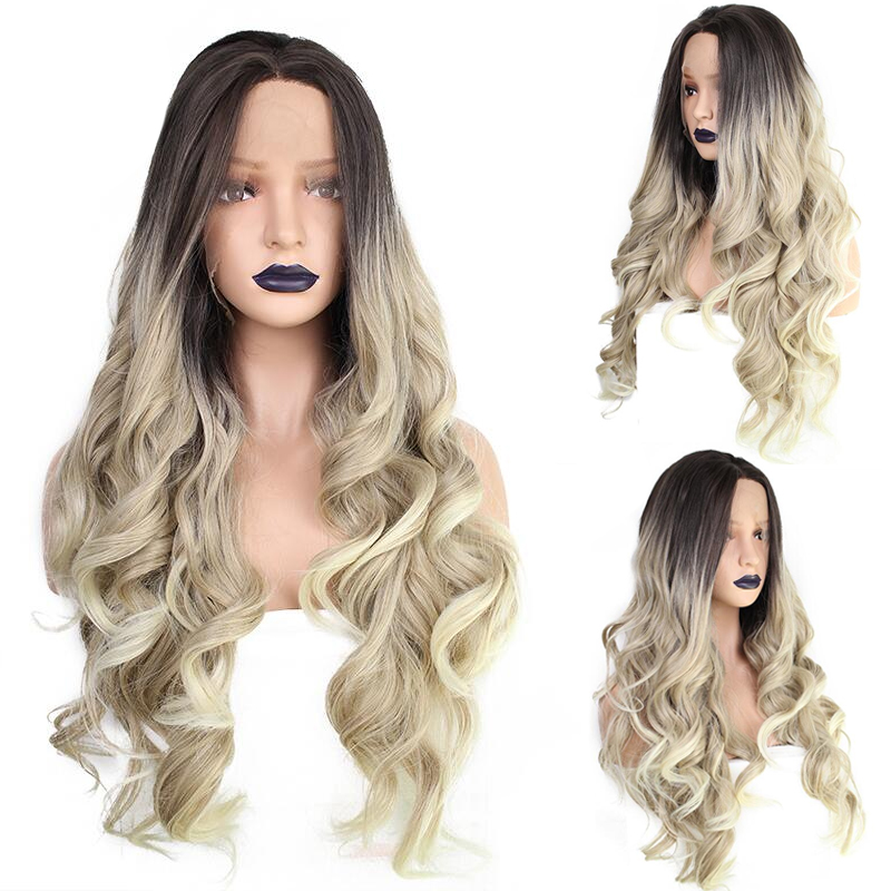 ANOGOL Synthetic Lace Front Wigs For Women Body Wave Ombre Blonde Brown Hair Dark Roots Wedding Hair Wigs Hand Tied Hair Wigs