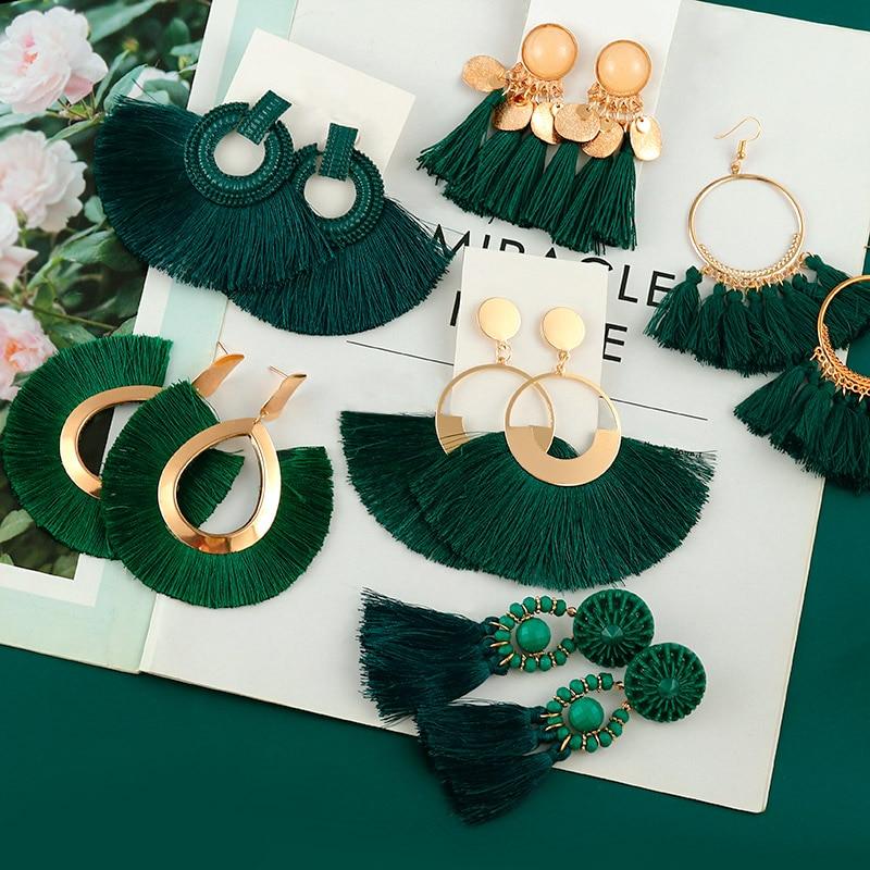 New Fashion Bohemian Tassel Earrings for Women Cotton Silk Fabric Long Fringe Drop Dangle Earrings 2020 Party Female Jewelry