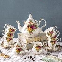 الإنجليزية العظام الصين القهوة مجموعة بعد الظهر طقم شاي المدينة القديمة ارتفع الأوروبي فنجان القهوة لوحة الزفاف هدية عيد ميلاد