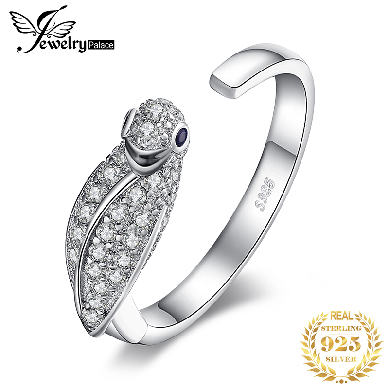 JPalace Parrot Birds Cubic Zirconia Rings 925 Sterling Silver Rings For Women Stackable Ring Silver 925 Jewelry Fine Jewelry