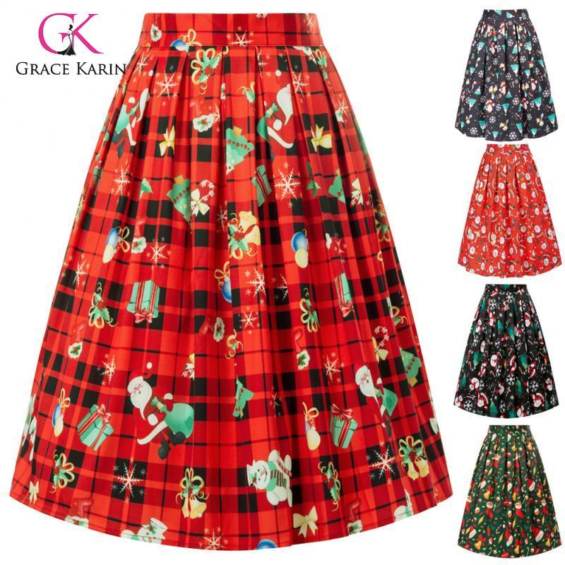 Grace Karin Vintage Retro Pleated Skirts Preppy Women Christmas High Waist XMAS Pattern A-Line Skirt Sweet Girl Dance Midi Skirt