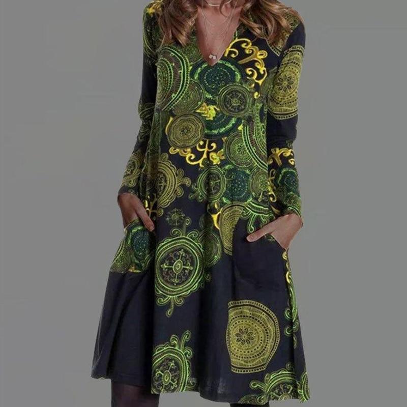 2021 frühling Herbst Floral Druck Party Kleid Frauen Elegante V-ausschnitt Langarm Midi Kleider Dame Casual Lose Tasche Kleid Vestido