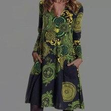 2021 primavera outono floral impressão vestido de festa feminino elegante com decote em v manga comprida midi vestidos senhora casual solto bolso vestido