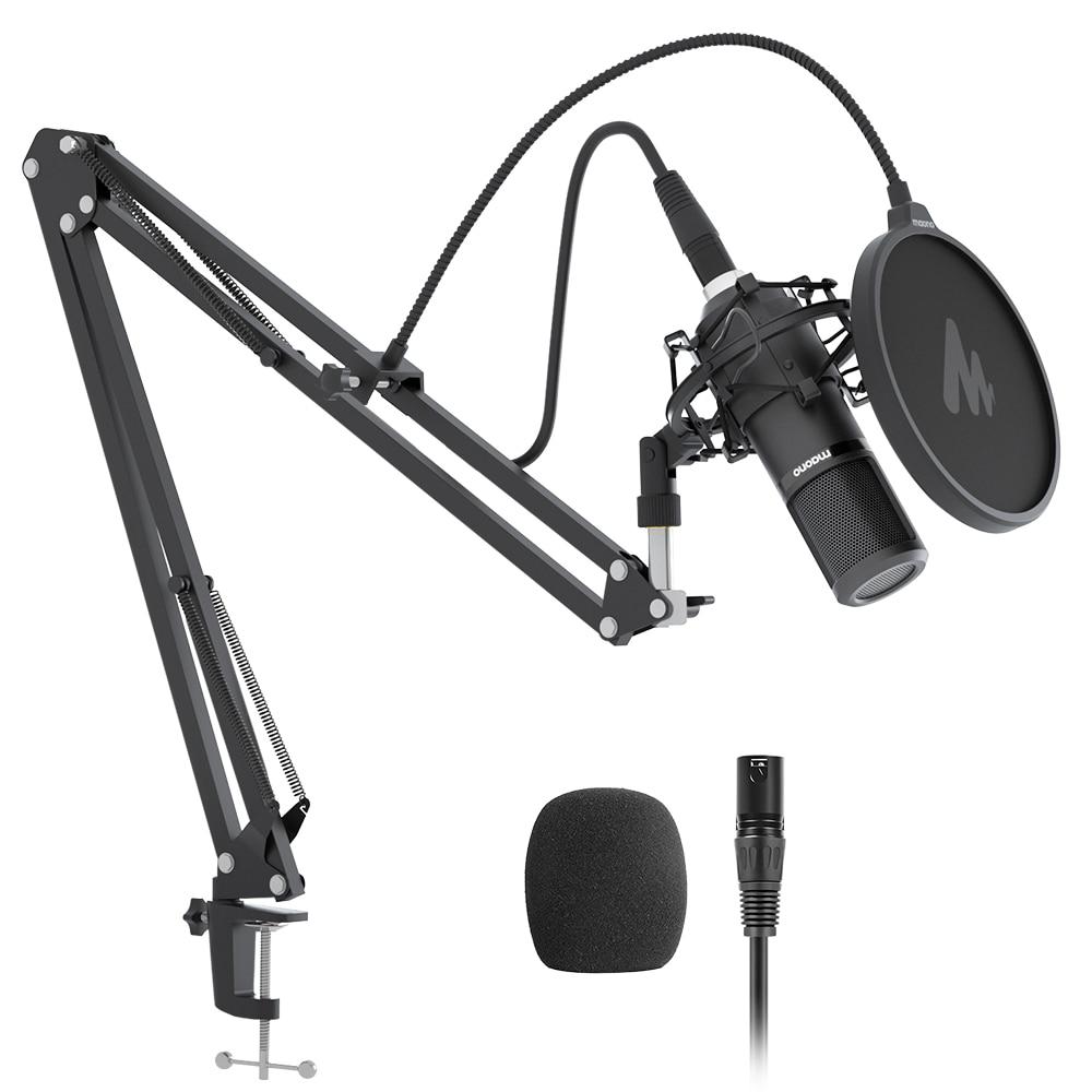 MAONO PM320S XLR Kit de micrófono con condensador profesional cardioide Vocal micrófono para grabación en estudio para la transmisión de voz sobre casa-estudio