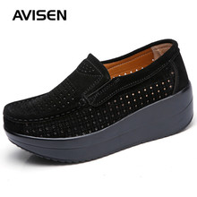 Autumn Women Flats Platform Loafers Shoes Woman Breathable Hollow Flock Slip On Casual Shoes Comfortable Non-slip Ladies Shoes women s platform shoes new spring casual woman weave shoes breathable girls handmade sapatos femininos loafers ladies shoes fx3