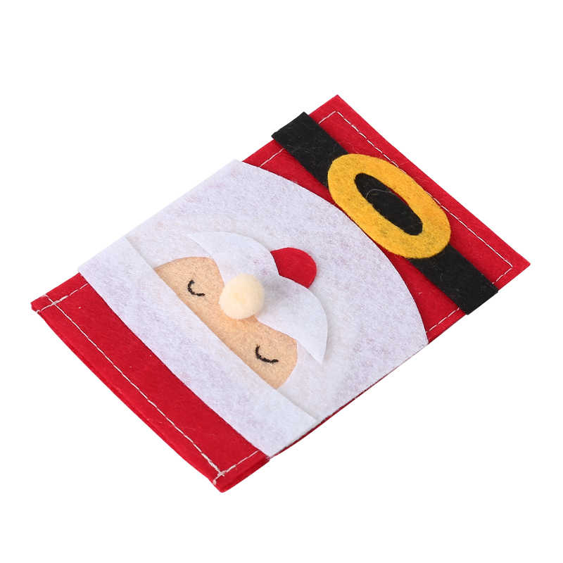 New Christmas Tableware Cutlery Santa Claus Knife Fork Holder Sack Christmas Pocket Bags Kitchen Table Decoration For Home Party