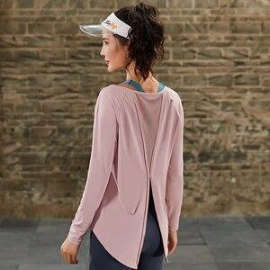 Image 2 - Spor uzun kollu üstleri spor kadın uzun kollu geri Yoga gömlek gevşek ters örtü Activewear egzersiz t shirt fitness giysileri