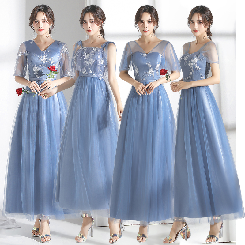 Junior Bridesmaid Dress Gray Blue Elegant Dress Women For Wedding Party Embroidery Sexy Long Prom Dress Prom Azul Royal Vestido