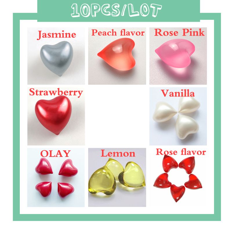 10PCS% 2FLot SPA Bath Oil Beads Shower Oil Floral Fragrance Bath Pearls Rose Heart Shaped 4.2g% 2Fpcs