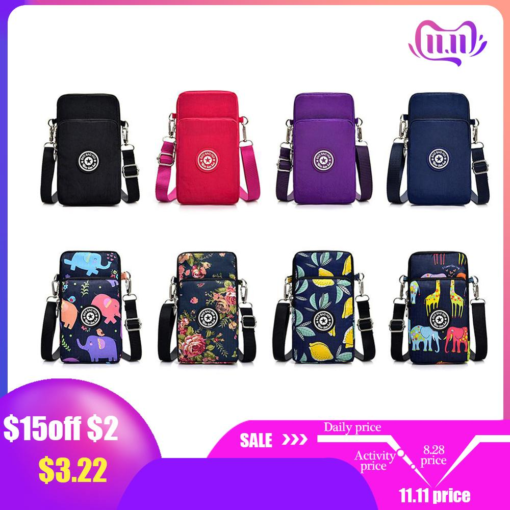 Square Vertical Phone Bag Women's Messenger Bag Multifunctional Sports Arm Single Shoulder Crossbody Hanging Neck Purse Mini Bag