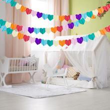 3m Rainbow Heart Shaperd Party Garland Love Tissue Paper Garland Flower Garland Wedding Party Showers Event Decoration