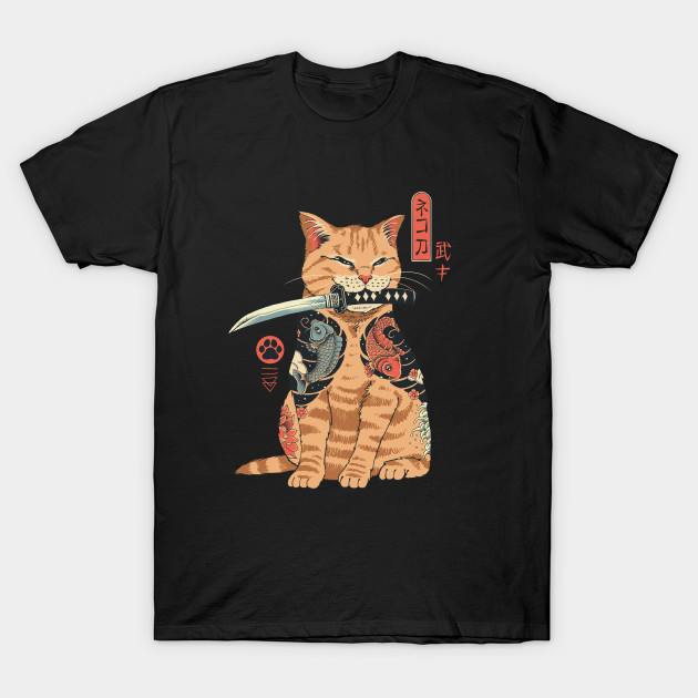 Catana Make A Bad Ass Cat Tattooed Like A Samurai Men's T Shirt image