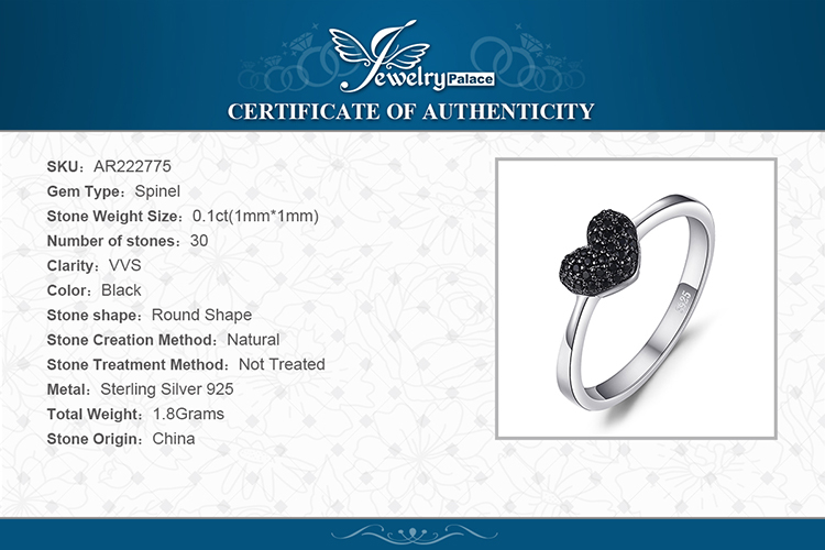 Hadd8054fede544d6b32e0850e2b36d78S JewelryPalace Heart Natural Black Spinel Ring 925 Sterling Silver Rings for Women Engagement Ring Silver 925 Gemstones Jewelry