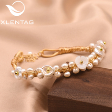XlentAg Original Handmade Natural Pearl Shell Flower Adjustable Bracelet For Women Daughter Gift Fine Jewelry Cufflinks  GB0110