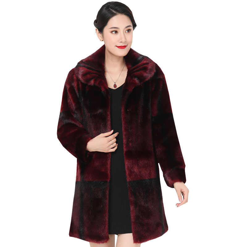 Women Mink Fur Jackets Overcoats 2020 New Winter Turn Down Collar Thick Real fur Coats Jacket Medium Long Fur Coats Female Q230
