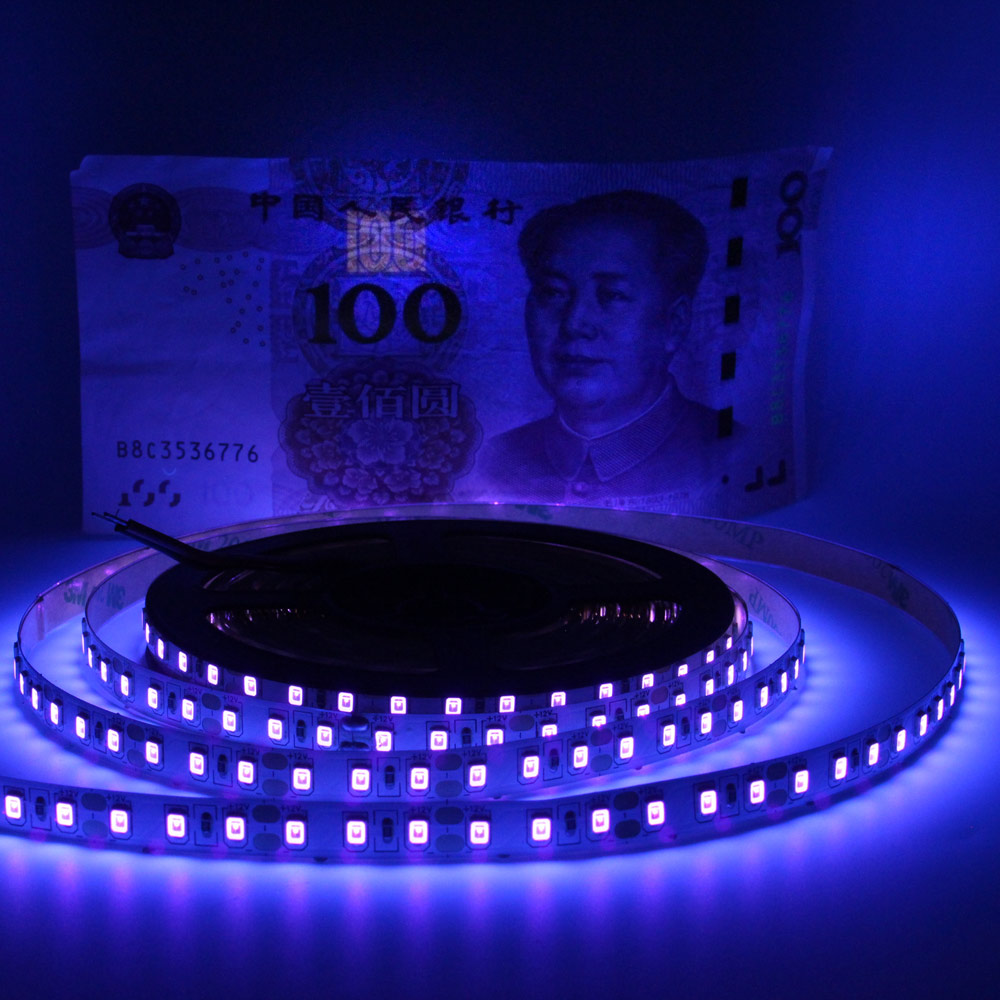 12V Raios Ultravioleta 395-405nm UV Conduziu a Luz de Tira 5050 2835 SMD LEVOU Diodo Fita Roxa Fita Flexível Lâmpada para DJ de Fluorescência