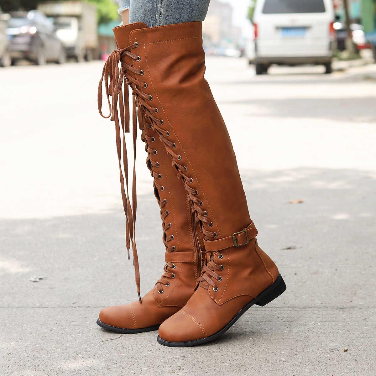 Oeak 2019 yeni bayan uyluk yüksek çizmeler moda süet deri yüksek topuklu Lace Up kadın diz çizmeler üzerinde artı boy kadın ayakkabı