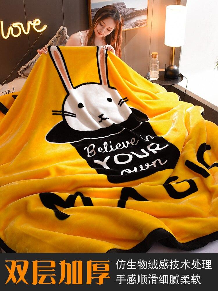 Новое дизайнерское двойное одеяло с кошачьим мехом, постельные принадлежности, утолщенная Простыня из кораллового меха, теплое Фланелевое ... - 2