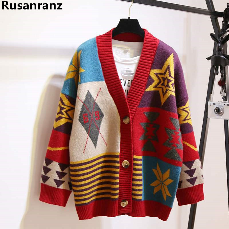 Women's Sweaters Autumn Winter 2019 Fashionable Casual Plaid V-Neck Cardigans Single  Puff Sleeve Loose Students Cardigan