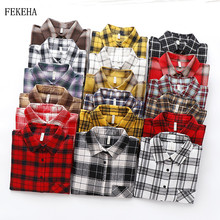 2019 Autumn New Plaid Flannel Shirt Women Blouses And Tops Retro Cotton Lady Loo