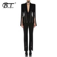 Beateen V Neck Single Zipper Long Split Sleeve Blazer Slim Waist Slit Pantsuits 2019 New Fashion Punk Style Two Piece Sets