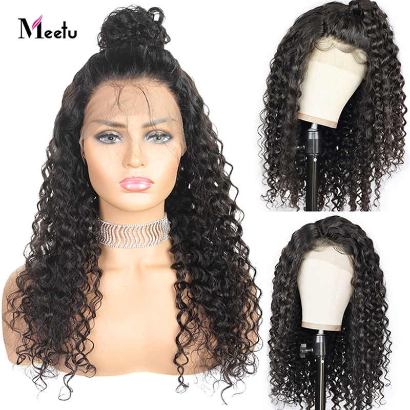 Meetu 4X4 Lace Closure Wig Malaysian Deep Wave Lace Front Wig Pre Plucked 180 Density Lace Front Wig 8-26