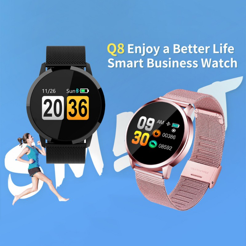 Q8 Smart Watch OLED Color Screen Watch Stainless Steel Waterproof Men Women Fashion Fitness Tracker Heart Rate monitor