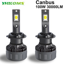 YHKOMS 100W 30000LM H4 H7 Canbus LED H1 H8 H9 H11 9005 HB3 9006 HB4 9012 Car LED Light Headlight Turbo Fog Lamp 6000K 12V