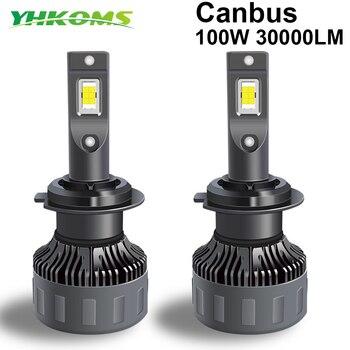 YHKOMS 100W 30000LM H4 H7 Canbus LED H1 H8 H9 H11 9005 HB3 9006 HB4 9012 Car LED Light Headlight  Turbo Fog Lamp 6000K 12V 24V 1pc 100w 10000lm car led headlight bubls auto headlight kit for high beam bulb fog light 6000k white h1 9006 9005 hb3 fog lamp