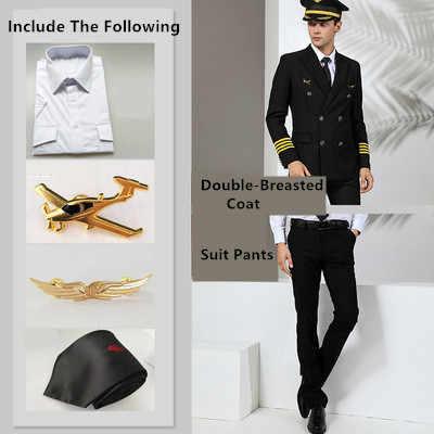 Linia lotnicza garnitur Slim kapitan odzież robocza Pilot jednolite mundury wojskowe płaszcz + spodnie bezpieczeństwo profesjonalne garnitury odzież robocza duży rozmiar