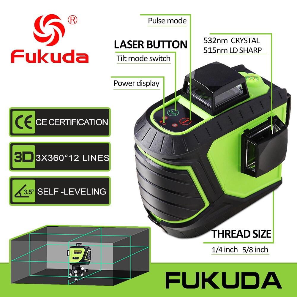 Fukuda marque 12 lignes 3D 93T-3GX niveau Laser pointu auto-nivelant 360 Horizontal Vertical croix Super puissant faisceau Laser vert