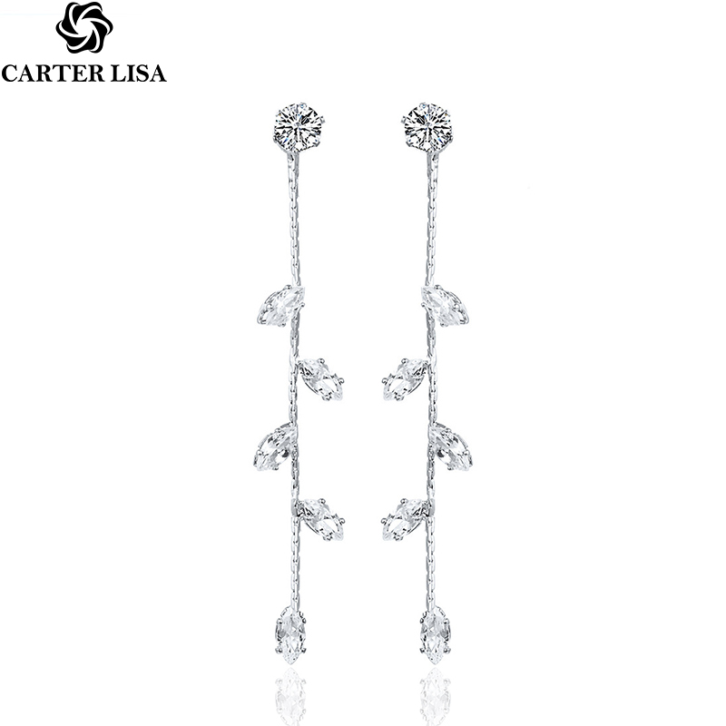 CARTER LISA Exquisite Zircon Silver Leaves Long Drop Earring Fashion Temperament Wedding Jewelry For Women Girl Party Gifts