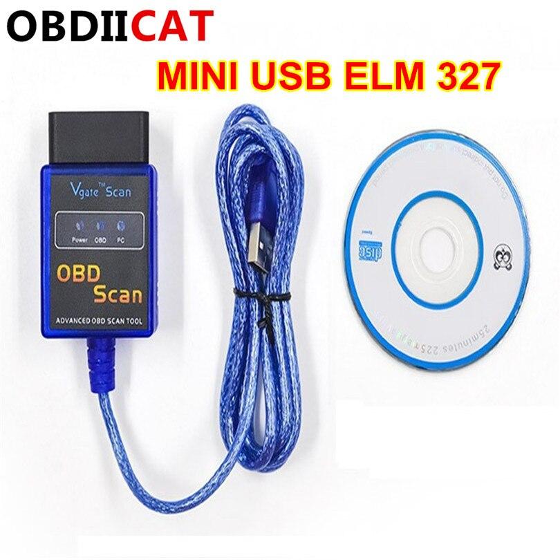Siper Mini Elm 327 nueva versión Usb Elm327 Obd Scan/Obdii Usb v2.1 Elm327/VGATE la interfaz de la computadora funciona en todos los vehículos OBD2 Nuevo ELM327 USB OBD2 herramienta de diagnóstico de Auto coche ELM 327 V1.5 interfaz USB OBDII CAN-BUS escáner Venta caliente ~