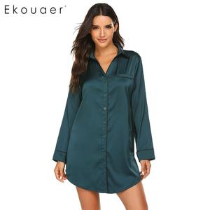 Image 3 - Ekouaer Sleepshirts Camisola de Manga Longa Outono Sleepwear Mulheres de Abertura de cama Colarinho Botão Para Baixo Vestido de Pijama De Cetim