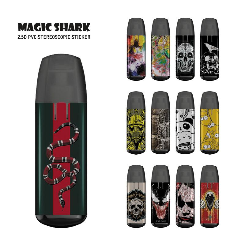 Magic Shark Stereo Ultra Thin Joker Venom Skull Painting Cool Sticker Cover Case Film For JUSTFOG MINIFIT