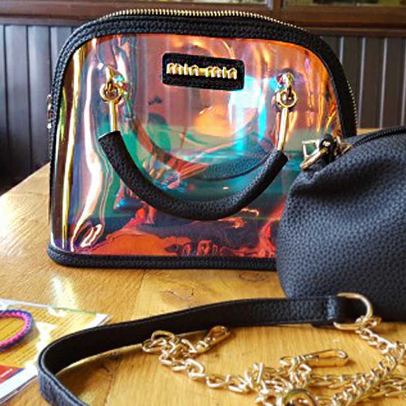 Şeffaf çanta Şeffaf omuzdan askili çanta lüks çanta Kadın çanta Temizle PVC Jöle Küçük Kabuk Çanta Çanta Lazer Holografik omuzdan askili çanta