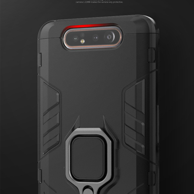 For Samsung Galaxy A80 Case Armor PC Cover Finger Ring Holder Phone Case For Samsung A 80 Case 360 Shockproof Bumper Hard Shell 3