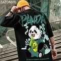 Футболка ZAZOMDE Мужская в стиле хип-хоп, свободная повседневная рубашка в китайском стиле, с принтом панды, одежда в стиле панк, лето 2021