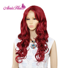 Amir Long Water Wave Lace Front Synthetic wigs For Black White Women Heat Resistant  Ombre Black Blonde Red Color Hair Cosplay