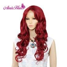 Amir uzun su dalgası dantel ön sentetik peruk siyah beyaz kadınlar için isıya dayanıklı Ombre siyah sarışın kırmızı renk saç cosplay
