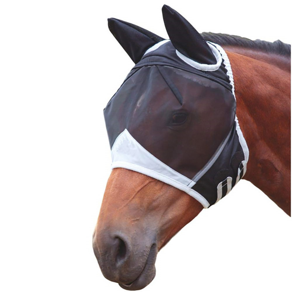 Horse Detachable Mesh Mask With Nasal Cover Horse Fly Mask Horse Full Face Mask Anti-Mosquito Nose With Zipper Anti-Mosquito