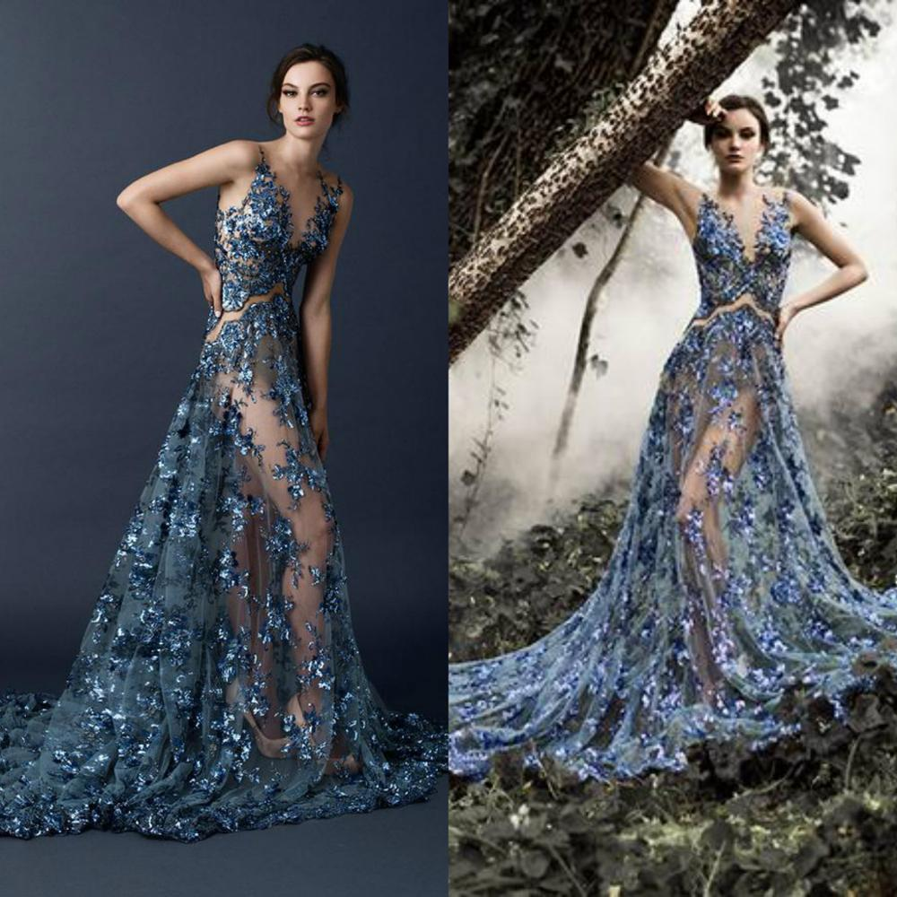 Illusion Bodice Sexy Prom Dresses V Neck Tulle Lace Sequins Fairy Evening Gowns Custom Made A Line Formal Occasion Dress