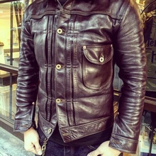 YR!Free shipping.Luxury Vegetable tanned batik horsehide jacket,classic casual 5