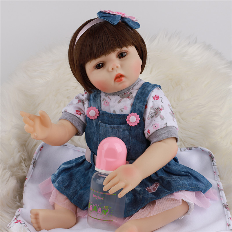 48CM New Rebirth Doll Simulation Baby Doll Cute Reborn Doll Kids Playmate Doll Reborns Toddlers Doll Girl Birthday Gifts