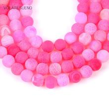 Natural Matte Frost Cracked Rose Red Stone Round Loose Beads For Jewelry Making 4-12mm Spacer Fit Diy Bracelet Necklace15